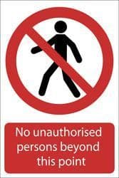 DRAPER 'No Unauthorised Persons Beyond This Point' Prohibition Sign
